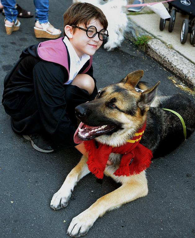 Description of . Jack Rooney and his German shepherd, Gryffindor, won the Most Inventive Name category with their Harry Potter theme at the Ambler Dog Days Parade Saturday, Aug. 9, 2014.  Montgomery Media staff photo by Bob Raines